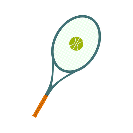 racquet: A tennis racquet and a ball flat icon isolated on white background