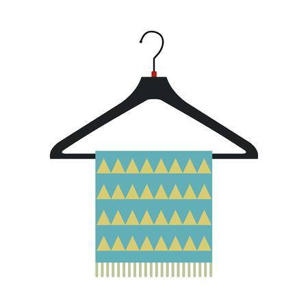 coathanger: Blue scarf on coat-hanger flat icon isolated on white background