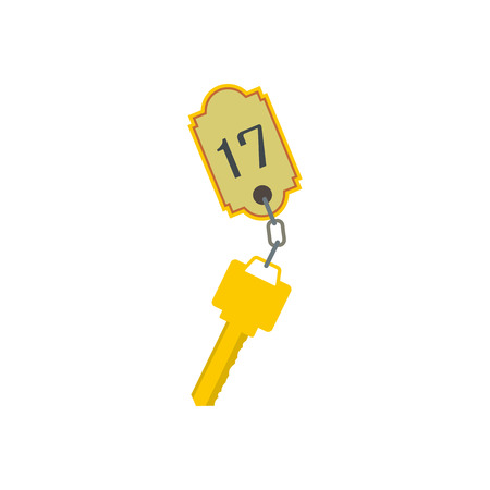 secret number: Hotel key with a room number flat icon isolated on white background Illustration