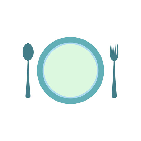 formal place setting: Cutlery set with plate flat icon isolated on white background