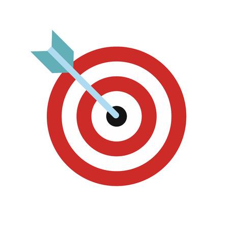 Target avec fléchette icône plat isolé sur fond blanc Illustration
