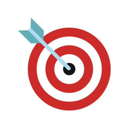 dart on target: Target with dart flat icon isolated on white background