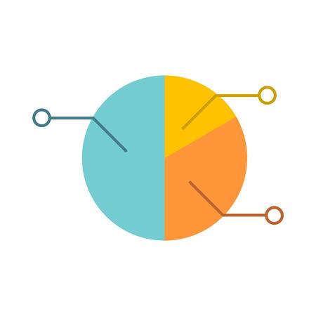 graficas de pastel: Pie icono de la carta plana del infografía aislado en el fondo blanco