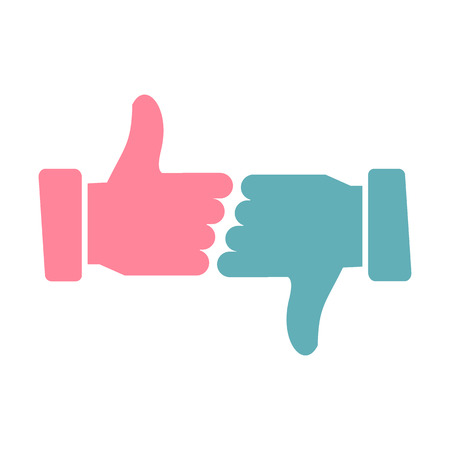 disapproval: Hands showing thumbs up and down flat icon isolated on white background