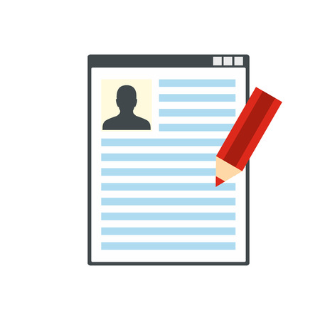 Paper sheet document and pencil flat icon isolated on white background