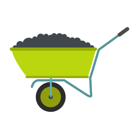 backyard work: Wheelbarrow flat icon isolated on white background