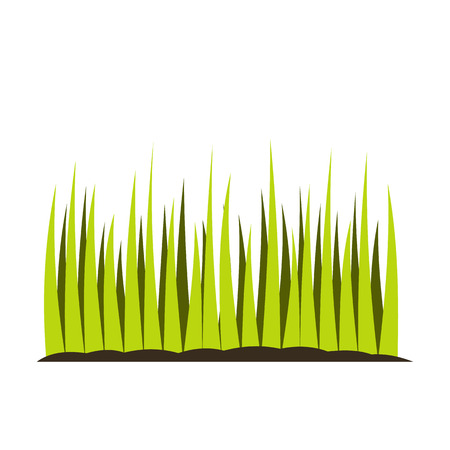 Growing grass flat icon isolated on white background