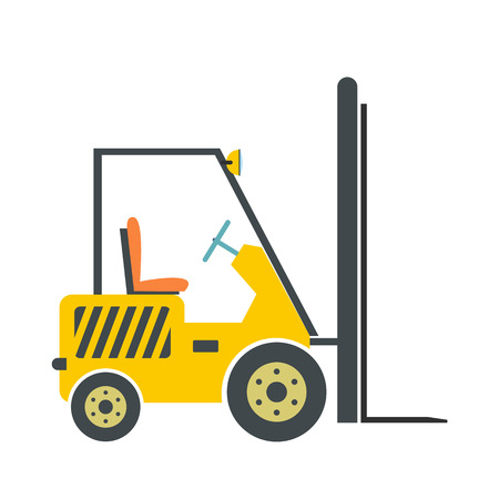 Yellow loader flat icon isolated on white background