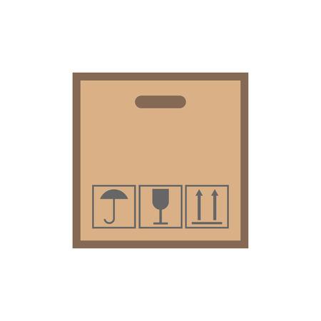 boxed: Cardboard with black fragile symbol flat icon isolated on white background Illustration