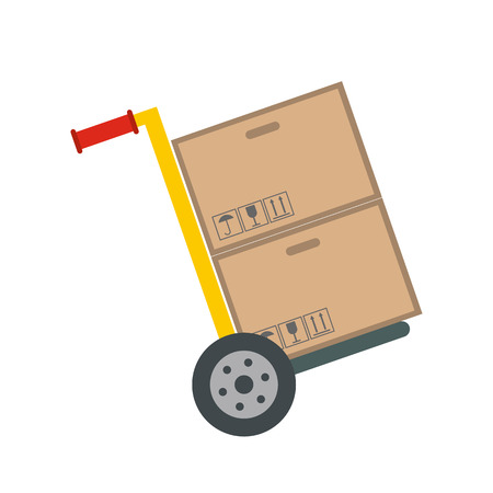 dolly: Yellow hand cart with cardboard boxes flat icon isolated on white background Illustration