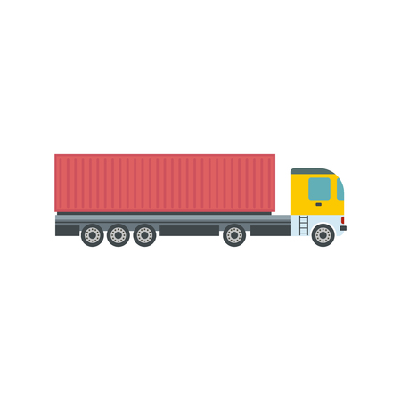 cary: Container at the dock with truck flat icon isolated on white background Illustration
