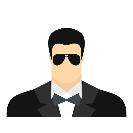 bodyguard: Bodyguard agent man flat icon isolated on white background