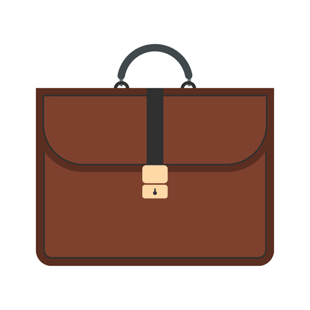 business briefcase: Brown business briefcase flat icon isolated on white background Illustration