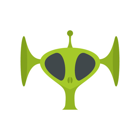 abduct: Green alien head flat icon isolated on white background
