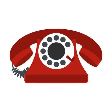 cable telefono: Teléfono rojo retro icono plana aislada en el fondo blanco