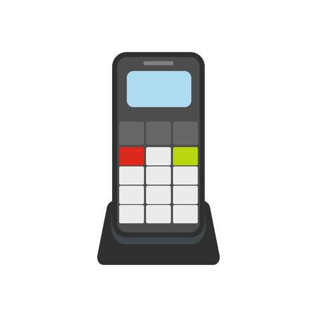 Wireless phone flat icon isolated on white background Illustration