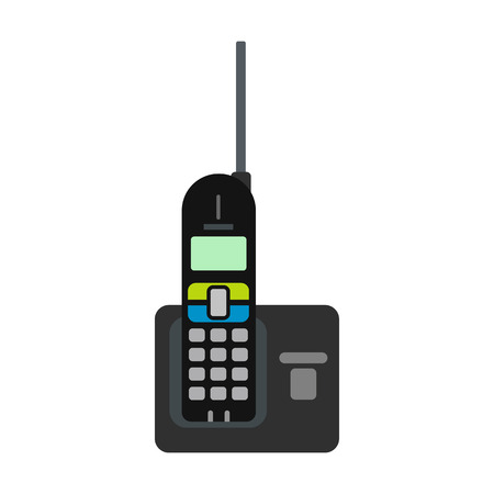 telephone icons: Wireless phone with antenna flat icon isolated on white background