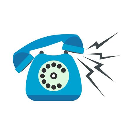 cable telefono: Sonando azul teléfono fijo icono plana aislada en el fondo blanco Vectores