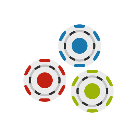 tokens: Red, blue and green casino tokens flat icon isolated on white background