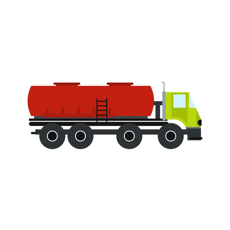 haulage: Truck with fuel tank flat icon isolated on white background