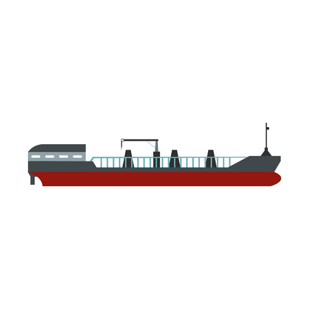 outdoor goods: Cargo ship flat icon isolated on white background