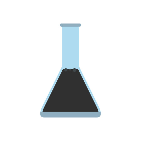conical: Conical flask test tube with oil flat icon isolated on white background