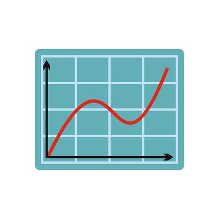 ascent: Screen arrow graph board flat icon isolated on white background