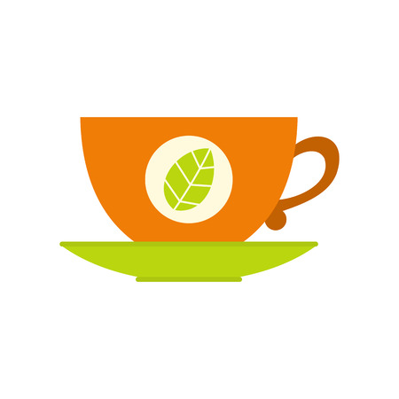 green tea cup: Green tea cup flat icon isolated on white background