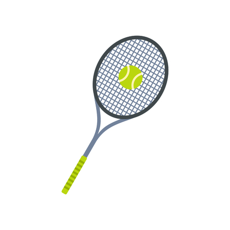 tennis racquet: Tennis racquet and ball flat icon isolated on white background