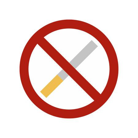 No: No smoking sign flat icon isolated on white background