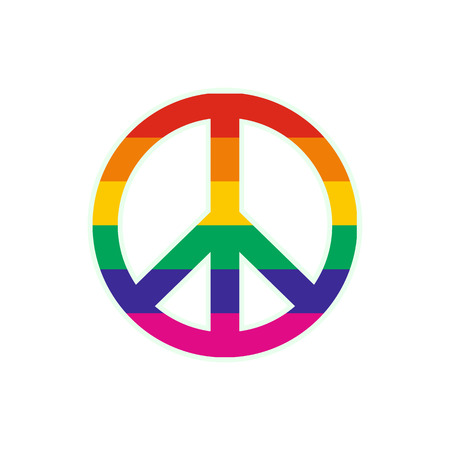 armistice: Peace symbol rainbow flat icon isolated on white background