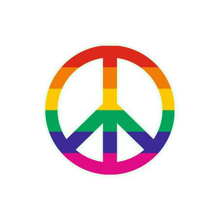 peace treaty: Peace symbol rainbow flat icon isolated on white background