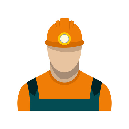 coal miner: Coal miner flat icon isolated on white background Illustration