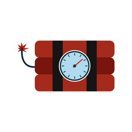 explosive watch: Bomb with clock timer flat icon isolated on white background