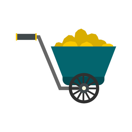 ore: Trolley with gold ore flat icon isolated on white background