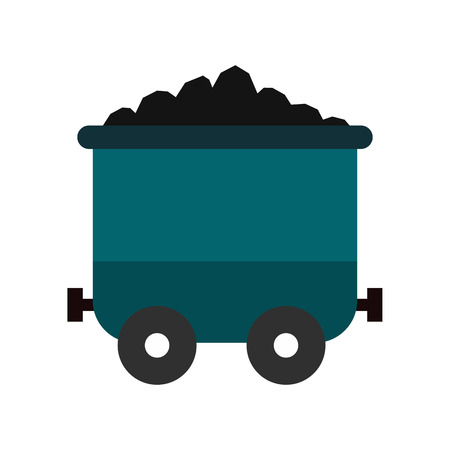 nonrenewable: Coal trolley flat icon isolated on white background