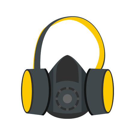 respirator: Protective ear muffs and respirator flat icon isolated on white background