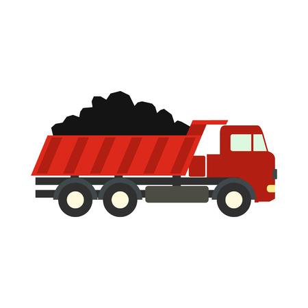 trucks: Dump truck flat icon isolated on white background