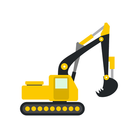 dredger: Yellow excavator flat icon isolated on white background Illustration