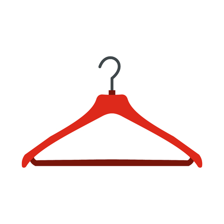 coat hanger: Red coat hanger flat icon isolated on white background