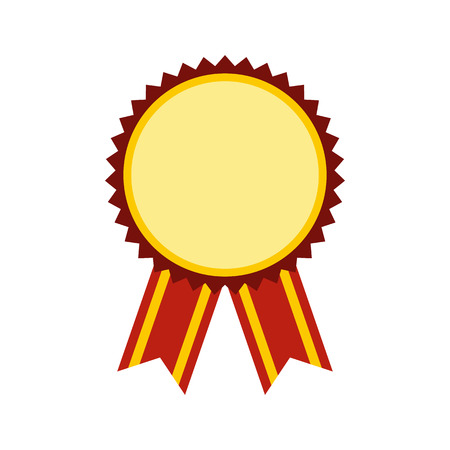 recompense: Medal award military flat icon isolated on white background