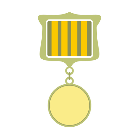 medal: Medal award military flat icon isolated on white background
