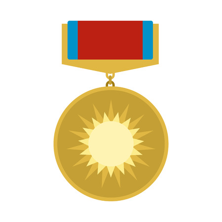 recompense: Medal of valor flat icon isolated on white background Illustration