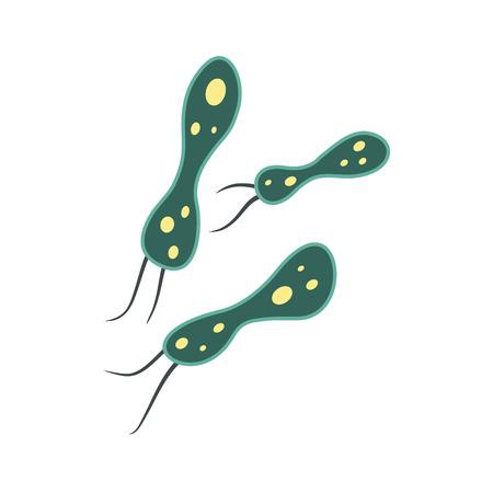 virology: Rod-shaped virus flat icon isolated on white background