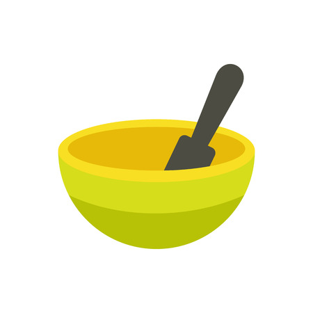 crush: Yellow mortar and pestle flat icon isolated on white background