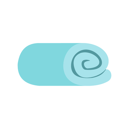 rolled: Blue towel rolled up flat icon isolated on white background