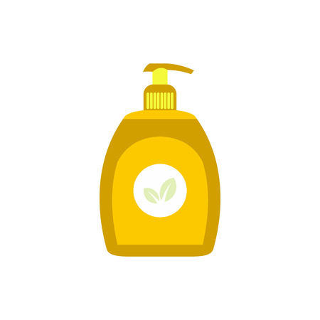 antibacterial soap: Yellow plastic bottle with liquid soap flat icon isolated on white background Illustration