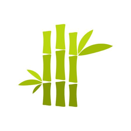 asian gardening: Green bamboo stem flat icon isolated on white background Illustration