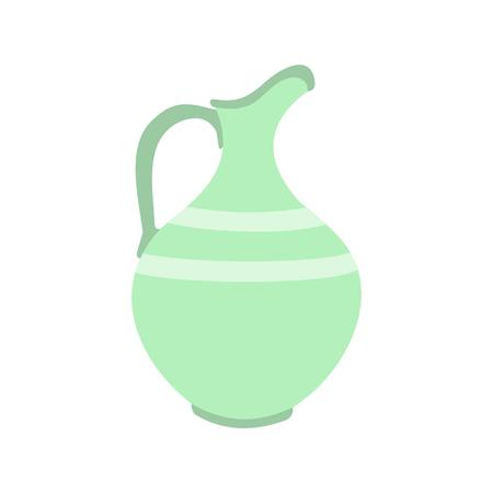 Jarro de cerámica plana icono aislado en el fondo blanco Ilustración de vector