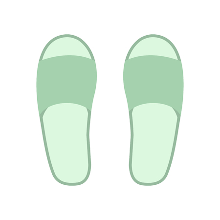 downy: White spa slippers flat icon isolated on white background